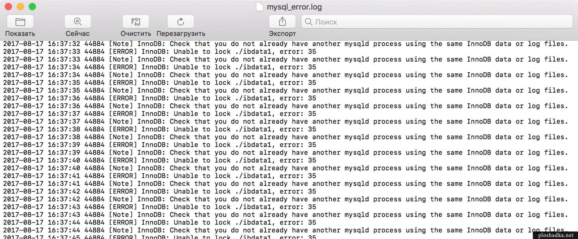 Error InnoDB: have another mysqld process