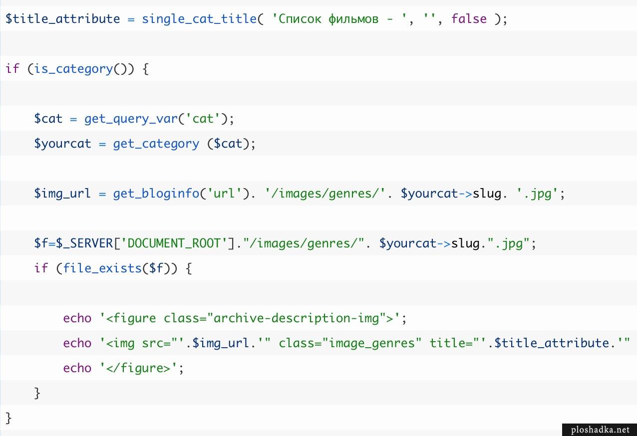 Вывод изображений для разделов и тегов на WordPress без плагинов