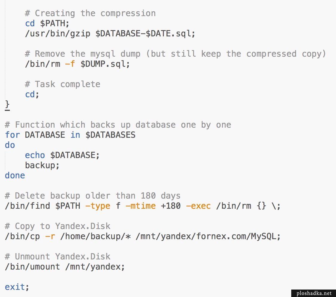 Резервное копирование нескольких баз данных на Яндекс Диск