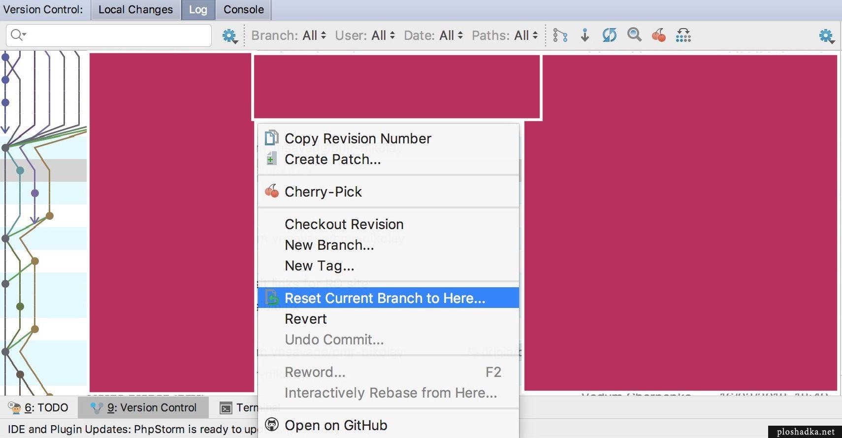 PhpStorm как отменить последние изменения на Git