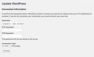 WordPress не может обновиться